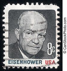 eisenhower., pres., usa, bélyeg, 1971, portré, állás, dwight