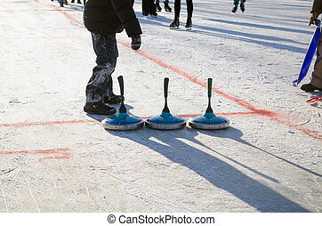 eisstock curling toys tool people play winter game