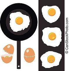 eitjes, eitjes, verzameling, vector, het braden, gebarsten, gebraden, pan