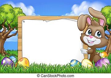 eitjes, meldingsbord, konijn, pasen, achtergrond, spotprent, konijntje