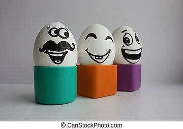 eitjes, met, een, schattig, face., foto, voor, jouw, ontwerp