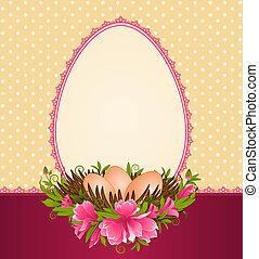 eitjes, met, kant, versieringen, en, bloem