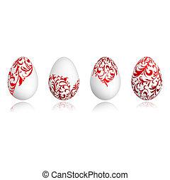 eitjes, ornament, ontwerp, floral, witte , pasen, jouw