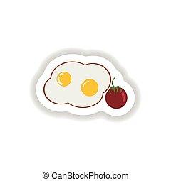 eitjes, papier, modieus, gebraden, sticker, tomaten