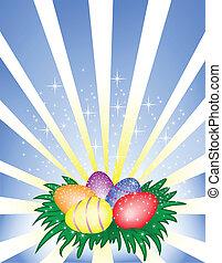 eitjes, pasen, achtergrond, het glanzen