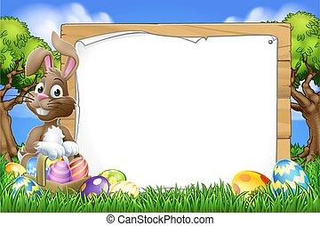 eitjes, spotprent, meldingsbord, konijntje, achtergrond, mand, pasen