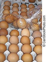 eitjes, te koop, op, een, markt
