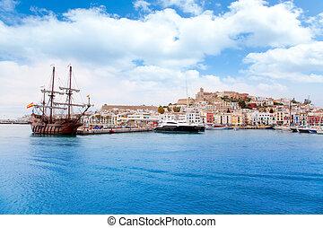 eivissa, cidade ibiza, com, antigas, clássicas, barco madeira