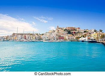 eivissa, cidade ibiza, com, igreja, sob, céu azul