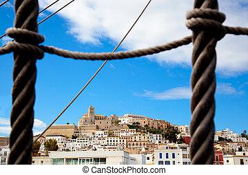eivissa, cidade ibiza, com, vista, prom, bote, escada corda