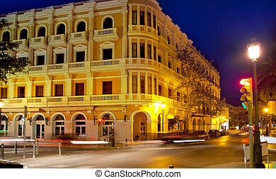 eivissa, cidade ibiza, noturna, vista, com, tráfego carro