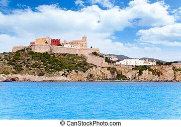 Eivissa ibiza town castle and church view from sea