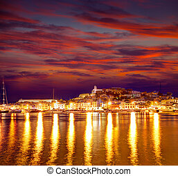Eivissa Ibiza town downtown at sunset in Balearic