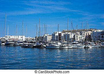 Eivissa ibiza town port sea view boats
