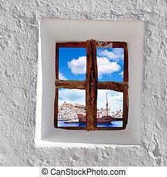 Eivissa Ibiza town view through window