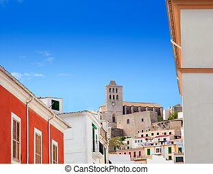 Eivissa Ibiza town with church under blue sky - Eivissa...