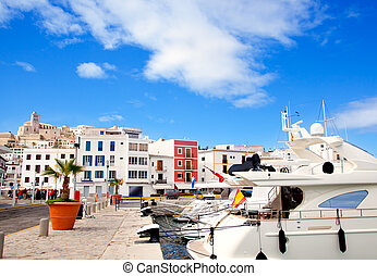Eivissa Ibiza town with church under blue sky