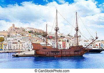 Eivissa ibiza town with old classic wooden boat - Eivissa...