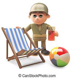 ejército, bebidas, ilustración, luego, soldado, beachball,...