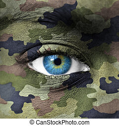 ejército, camuflaje, colores, en, cara humana