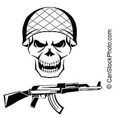 ejército, cráneo, arma