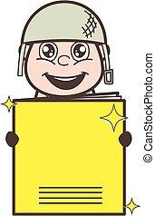 ejército, cuaderno, vector, ilustración, tenencia, excitado, hombre