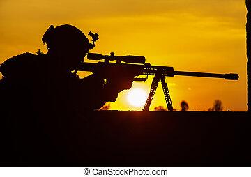 ejército, francotirador, buscar, enemigo