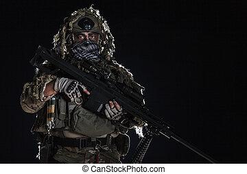 ejército, francotirador, con, pintado, cara