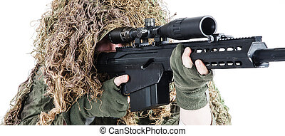 ejército, francotirador, llevando, un, traje de ghillie