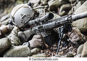ejército, guardabosques, francotirador