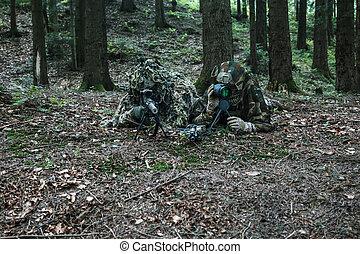 ejército, guardabosques, francotirador, par