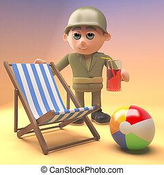 ejército, ilustración, soldado, bebida, deckchair, playa, se...