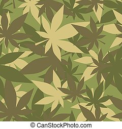 ejército, marijuana., hojas, cannabis., seamless, camuflaje...