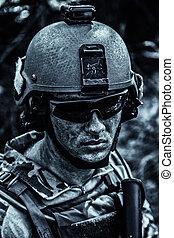ejército, nosotros, cara, guardabosques, sucio, mugriento