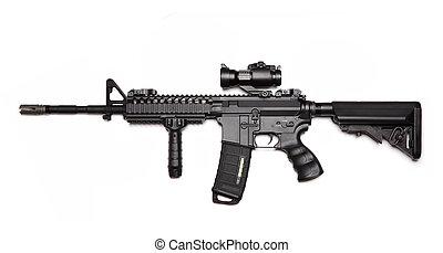 ejército, ops, carbine., nosotros, costumbre, m4a1, asalto,...