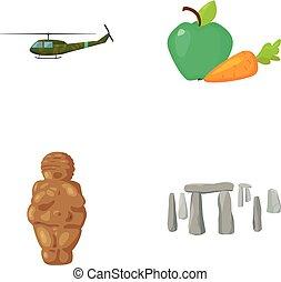 ejército, religión, y, otro, tela, icono, en, caricatura, style.food, historia, iconos, en, conjunto, collection.