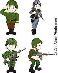 ejército, soldado, niño, posar