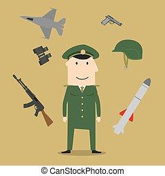 ejército, soldado, y, militar, objetos
