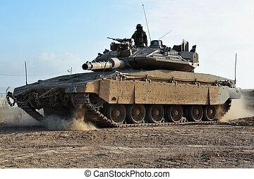 ejército, soldado, y, tanque