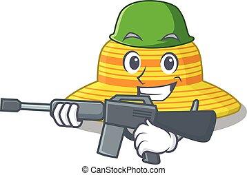 ejército, sombrero, tenencia, caricatura, arma de fuego, máquina, imagen, verano