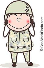 ejército, tímido, ilustración, vector, sonriente, caricatura, hombre