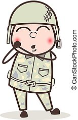 ejército, tímido, tímido, ilustración, cara, vector, caricatura, hombre