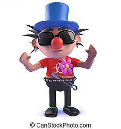 eje de balancín del punk, carácter, caricatura, payaso, vestido, 3d