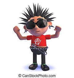 eje de balancín del punk, carácter, el suyo, brazos, caricatura, levantado, alto, 3d