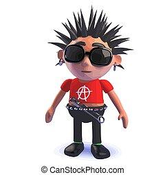 eje de balancín del punk, carácter, posición, caricatura, pensively, 3d