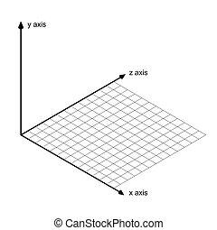 eje, x, dirección, y, vector, z