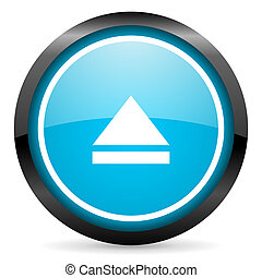 eject blue glossy circle icon on white background