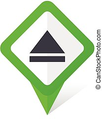 Eject green square pointer vector icon in eps 10 on white background with shadow.