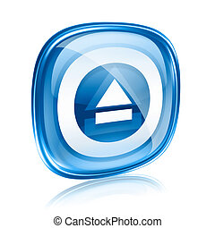 Eject icon blue glass, isolated on white background.