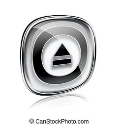 Eject icon grey glass, isolated on white background.